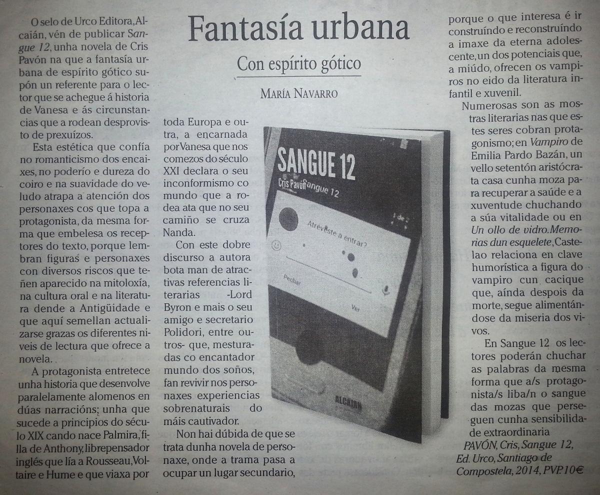 Crítica de Sangue 12 por María Navarro no Faro da Cultura