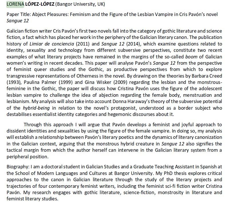 Abject Pleasures: Ponencia de Lorena López-López sobre 2 novelas miñas