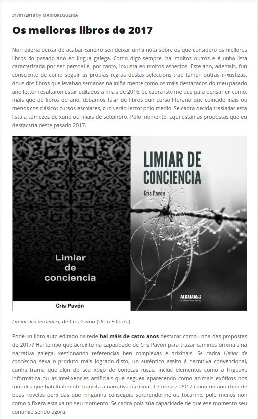 Limiar de conciencia, recomendación de Mario Regueira